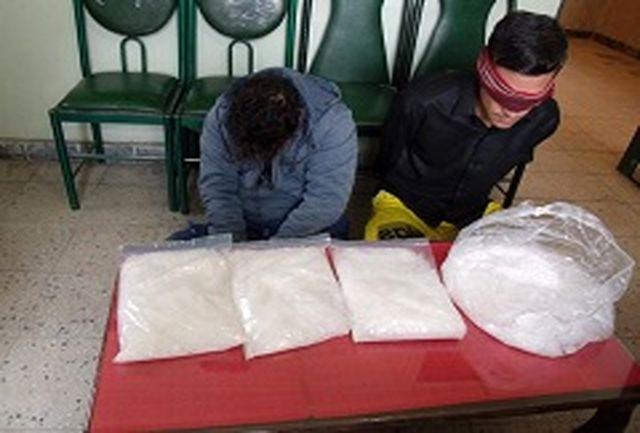2 سوداگر مرگ با 4 كیلو شیشه دستگیر شدند