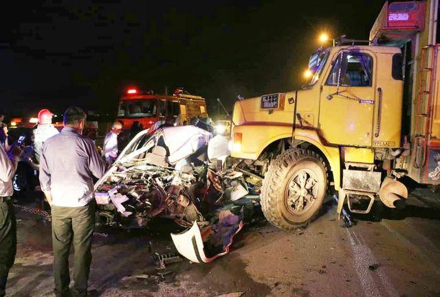 مرگ دردناک راننده سمند در برخورد با کامیون