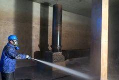 عملیات شستشوی مخازن آب شرب شرکت آب و فاضلاب خوی  انجام شد