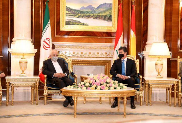 دیدار ظریف با رئیس اقلیم کردستان عراق