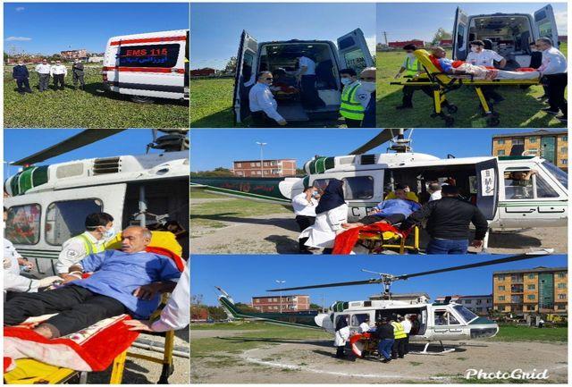 اعزام بیمار آستارایی با مشکل قلبی توسط بالگرد اورژانس گیلان