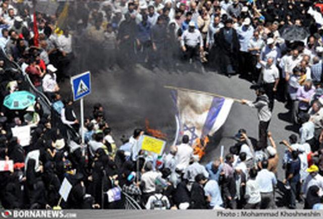حضور پرشکوه مردم مشهد مقدس در راهپیمایی روز قدس مشتی کوبنده به زورگویان غربی