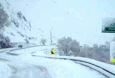 جاده کرج- چالوس و طالقان سفید پوش شده است