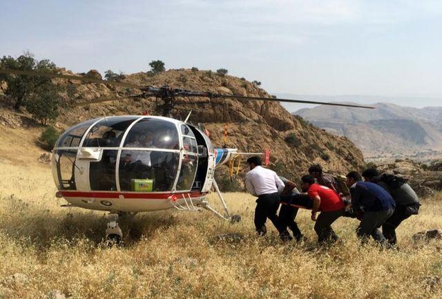 نجات جان مرد ۵۰ ساله با بالگرد اورژانس ۱۱۵