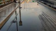 آبگرفتگی شدید روی پل محلاتی+ عکس