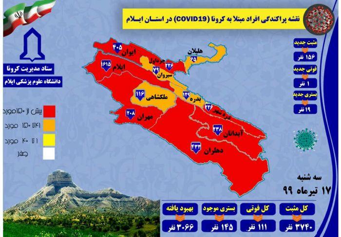 آخرین و جدیدترین آمار مبتلایان جدید کرونایی استان ایلام تا 17 تیر 99
