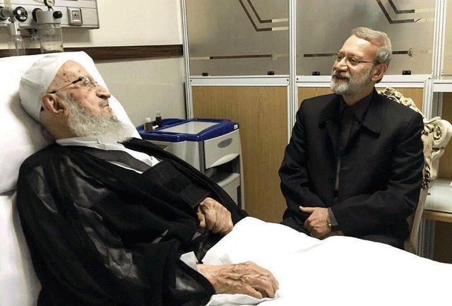 علی لاریجانی از آیت الله مکارم شیرازی عیادت کرد