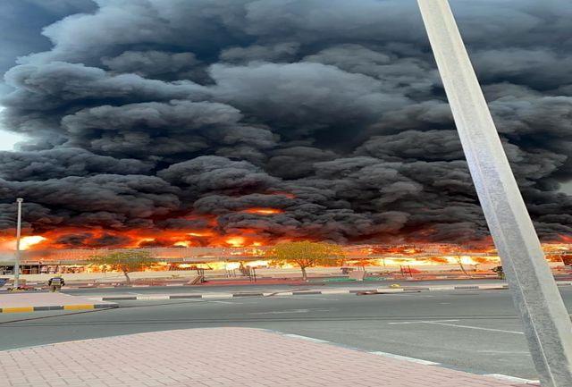 امارات در آتش سوخت/تصاویر جدید از آتشسوزی مهیب در امارات/ ببینید