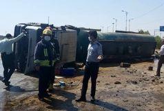 یک مصدوم بر اثر حادثه واژگونی خودرو تریلر حامل روغن در اهواز