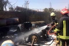 تانکر حامل ده هزار لیتر گازوییل در آتش سوخت