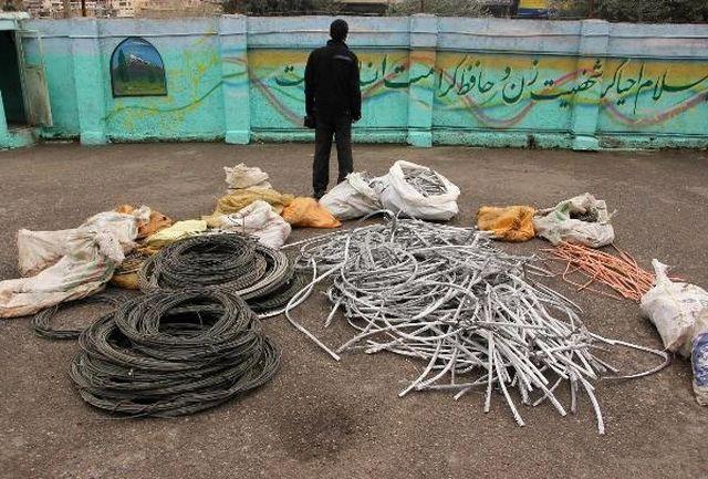 دستگیری سارق سیم برق در نهاوند