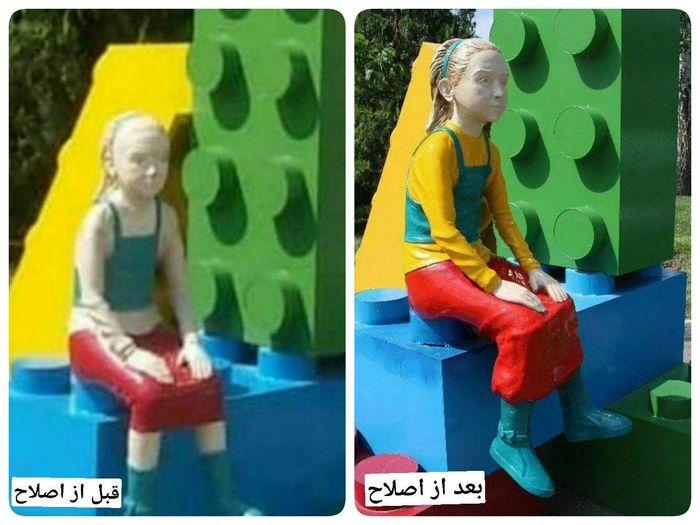 بازگشت مجسمه دختر این بار با رنگ جدید