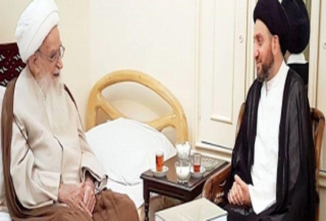 دیدار رئیس مجلس اعلای اسلامی عراق با آیتالله صافی گلپایگانی