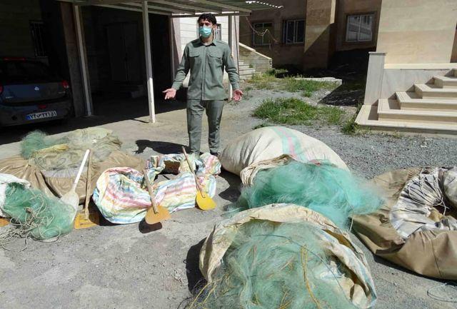 کشف و جمع آوری تور ماهی گیری بلاصاحب در سد آزاد شهرستان سنندج