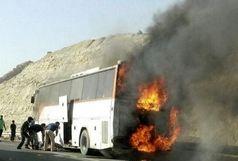 حریق اتوبوس بنز حامل ۴۲ مسافر در استان ایلام