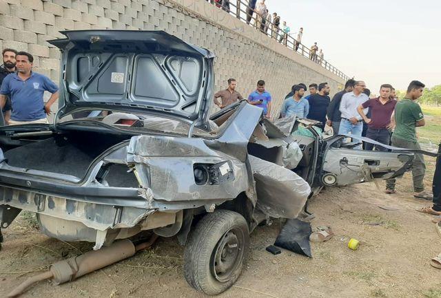 ۵  کشته و مجروح بر اثر سقوط خودرو پژو ۴۰۵ از روی پل شیبان+ببینید