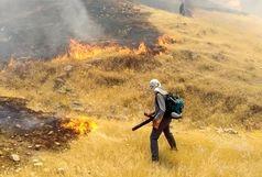 مهار آتش سوزی پارک جنگلی چال استران دو راهی لالی/گرما زدگی سه نفر در اثر اطفای حریق+ببینید