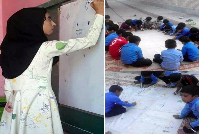 معلم ایرانی نقاشیهای دانش آموزان خود را بر تن کرد / ببینید
