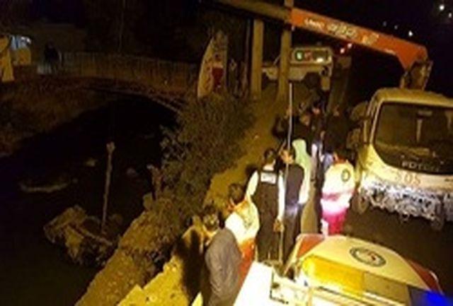 سقوط مرگبار خودرو به رودخانه کرج