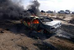 2 کشته در آتش سوزی خودروی پژو پارس در محور دلگان-ایرانشهر