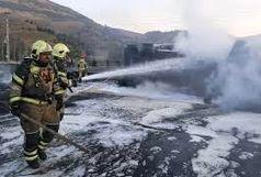 اتوبان آزادگان در پی واژگونی تانکر ۲۰ هزار لیتری بنزین مسدود شد