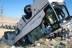 واژگونی اتوبوس مسافربری در اتوبان قم -کاشان