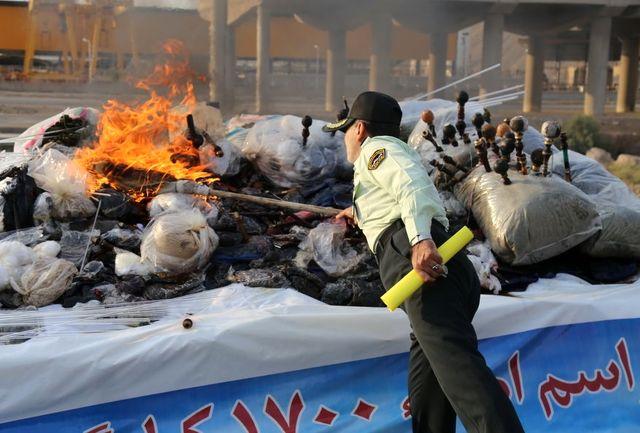 امحای 1700 کیلوگرم مواد مخدر در قم به مناسبت هفته ناجا