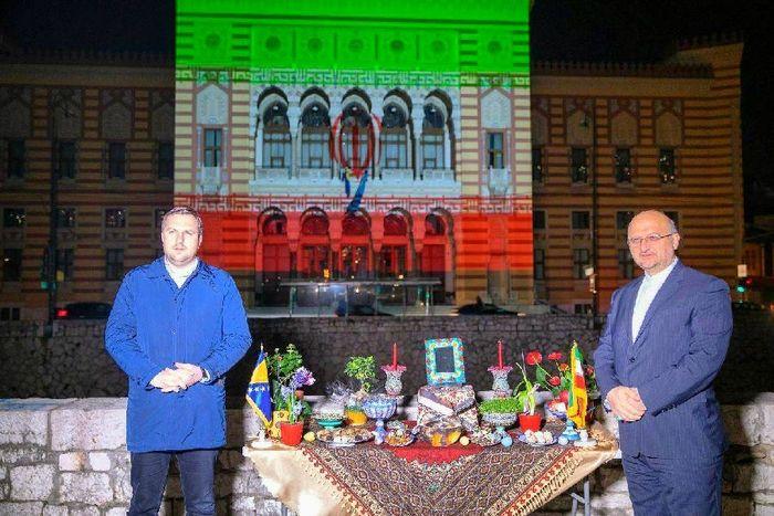 تالار شهر سارایوو با پرچم سه رنگ ایران نورپردازی شد