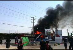 آتش سوزی موکب کارون در شلمچه+فیلم