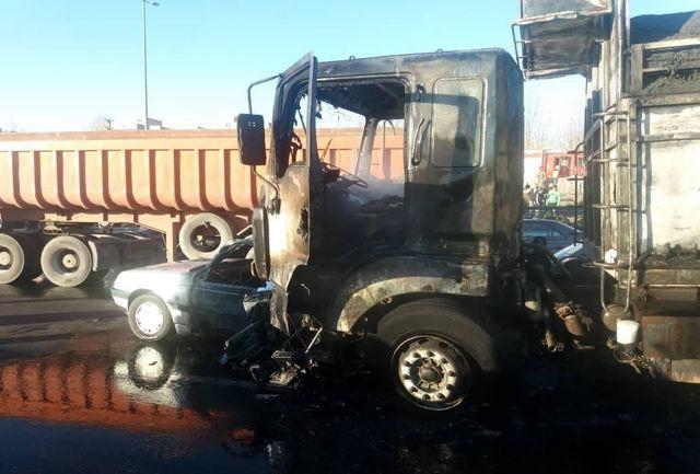 اعلام شمار تلفات تصادف و آتش سوزی شدید در اتوبان آزادگان+ عکس