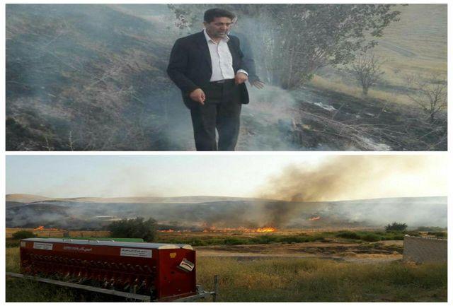 آتش سوزی مراتع تکاب پس از ۳ ساعت مهار شد