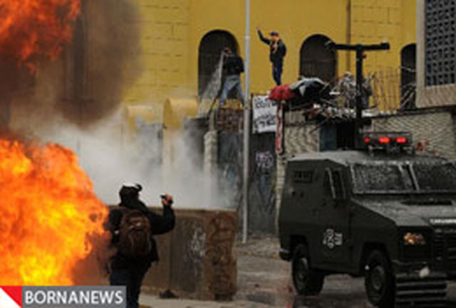 درگیری میان پلیس ضد شورش و معترضان در شیلی + تصاویر
