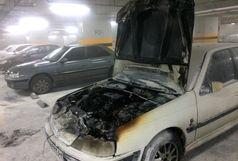 خودرو سواری در پارکینگ مجتمع تجاری طعمه آتش سوزی شد