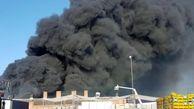 آتش سوزی انبار پالت شرکت بهنوش به علت گرمای زیاد+فیلم