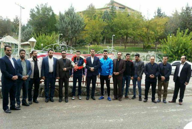 استقبال از حمزه مرادیان قهرمان ساواته جهان