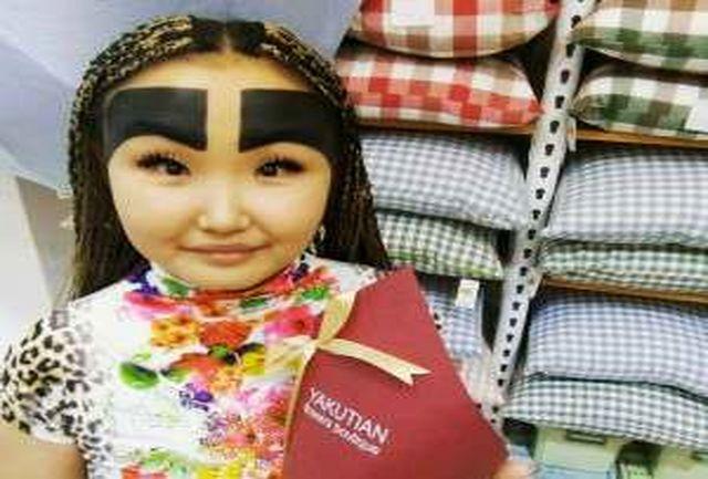 مدل ابروی عجیب زن جوان او را مشهور کرد + عکس