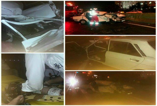 یک کشته در برخورد دو خودروی پیکان و تریلی در جاده تهران