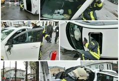 واژگونی خودروی سواری  در خیابان مطهری رشت