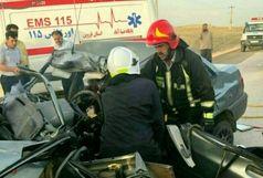 2 کشته و یک مجروح  در برخورد خودروی پراید با کامیون