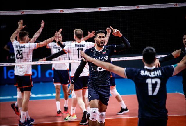 پیروزی والیبالیستهای ایران در مقابل هلند