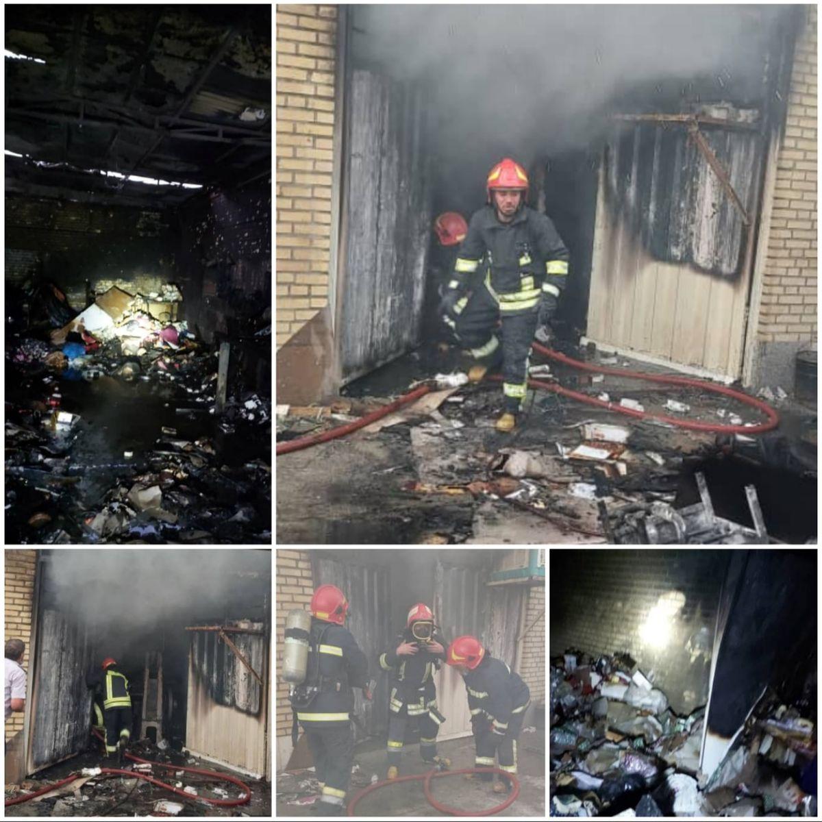تلاش ۲ساعته ۳ ایستگاه آتشنشانی شهرداری قدس در اطفای حریق شرکت تولید جعبه کادو