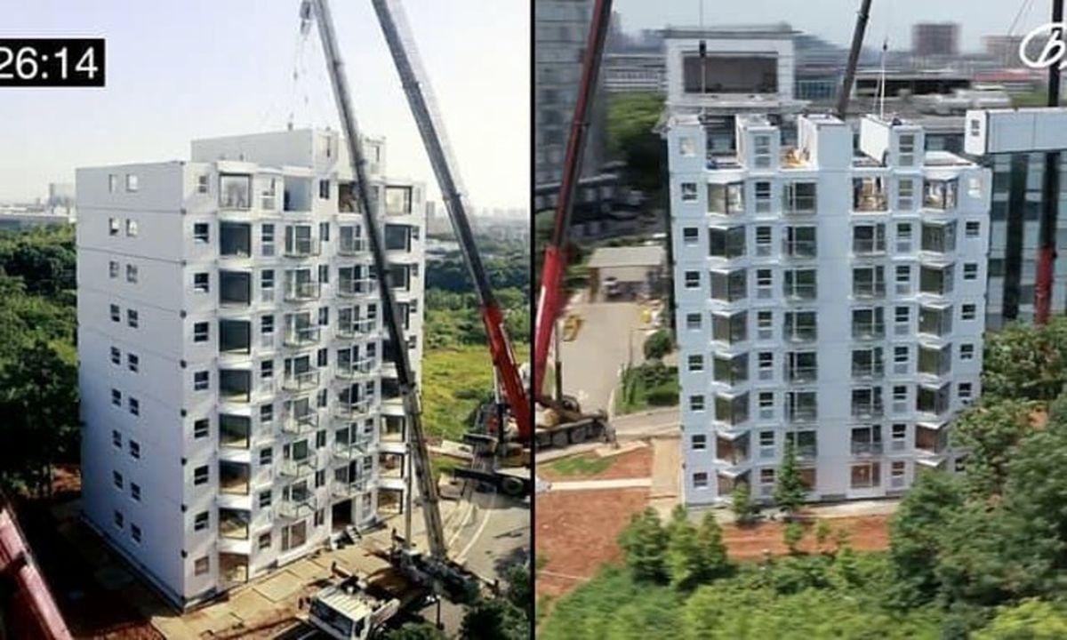 ساخت باورنکردنی ساختمان ۱۰ طبقه در کمتر از ۳۰ ساعت+جزئیات