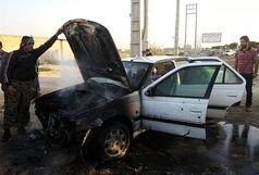 خودرو پژو پارس در آتش انحراف خود سوخت