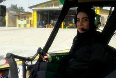پرواز اولین خلبان زن با هلیکوپتر در ایران