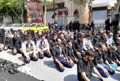 نماز ظهر عاشورا با حضور پلیس راهور تهران بزرگ / ببینید