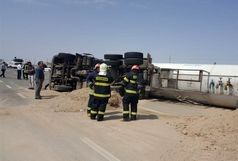 ۲ فوتی و مصدوم در حادثه واژگونی خودرو تریلر