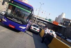 تصادف و رویارویی  پراید متخلف  با اتوبوس