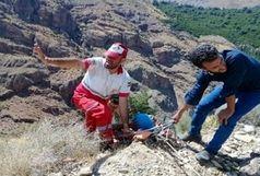 نجات یک کوهنورد سقوط کرده از دره روح آباد